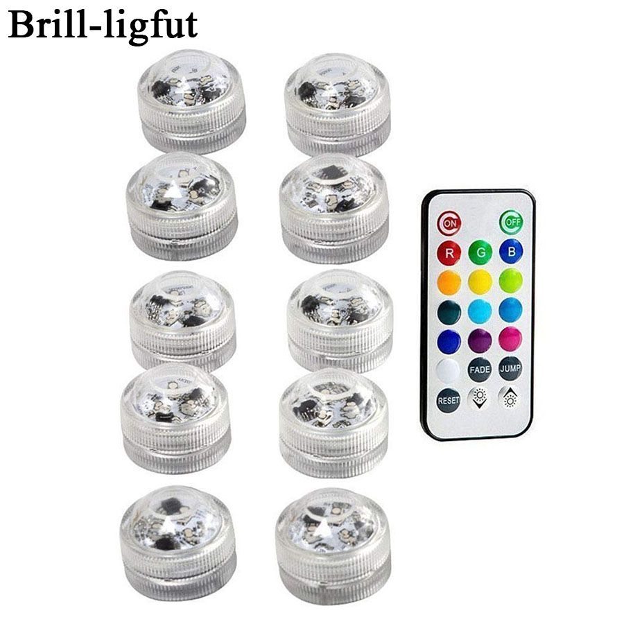 Waterdichte SMD3528 Dompelpompen LED Verlichting RGB Onderwater Night Lamp Bruiloft Tea Light Vaas Kom Party Kerst Decoratie licht