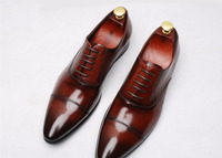 Pointed Toe Mens Dress Fashion Wedding Shoes 2018 Prom Party Business Handmade Italian Leather Derby Oxfords Spring Summer