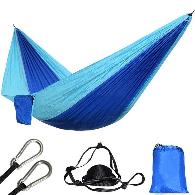 Ultraleve 1 Pessoa Parachute Nylon Hammock Azul Portátil Durável Camping Pendurado Praia Dormir Mosquetões e Cordas Incluído