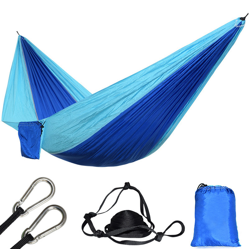 Ultralight 1 Person Nylon Hammock Blue Parachute Portable Durable Camping Hanging Beach Sleeping Carabiners And Ropes Included