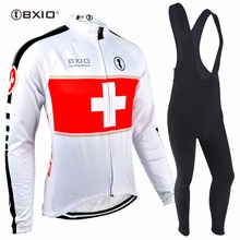 Bxio Winter Cycling Jersey Sets White Bicycle Clothes Full Zipper Cycling Sets Pro Bike Riding Outdoor Sportwear BX-0108W-001