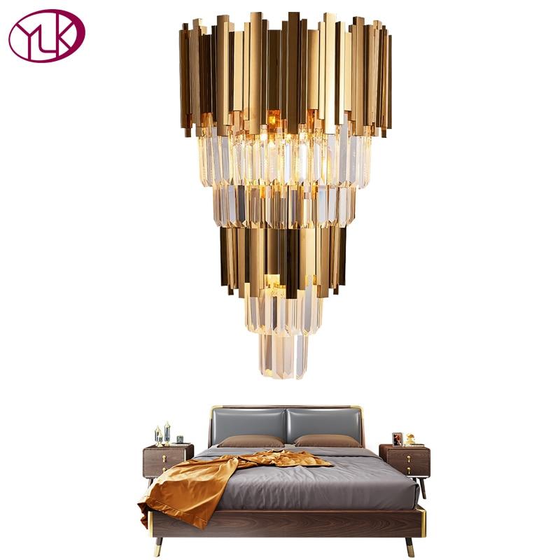Youlaike Gold Modern Wall Sconces Lighting AC110 240V Two Level Crystal Wall Lamp Bedside Living Room