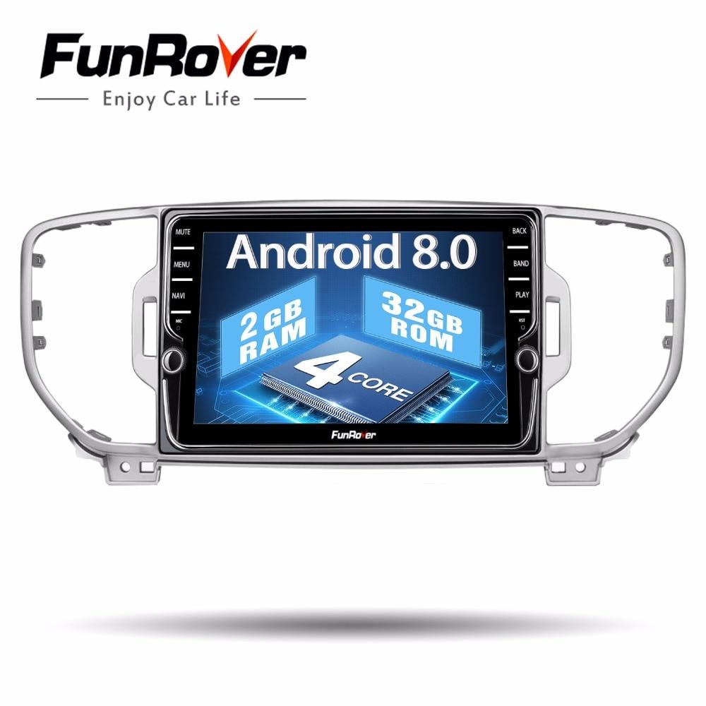 Funrover 8 IPS 2 din Android 8.0 lecteur dvd de voiture pour KIA sportage KX5 2016 2017 Autoradio Multimédia vidéo gps navigation Lecteur