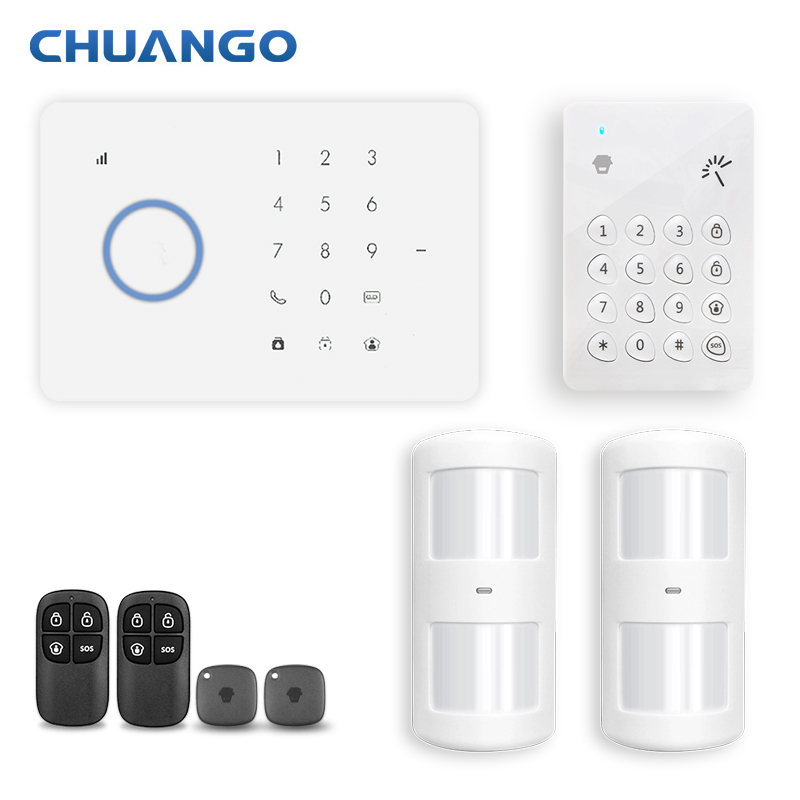 Chuango Wireless 315mhz Home Security GSM GPRS Alarm system Auto-dial APP Remote Control RFID card Arm Disarm