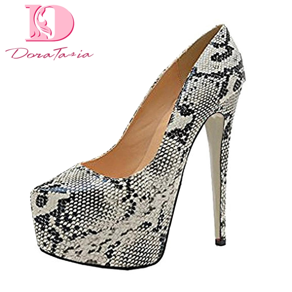 DoraTasia 2018 Large Size 35-45 Sexy snake print Woman pumps platform thin High Heels women's Shoes party prom lady footwear doratasia 2018 large size 33 41 genuine leather brand shoes women sexy thin high heels ankle boots party shoes lady footwear