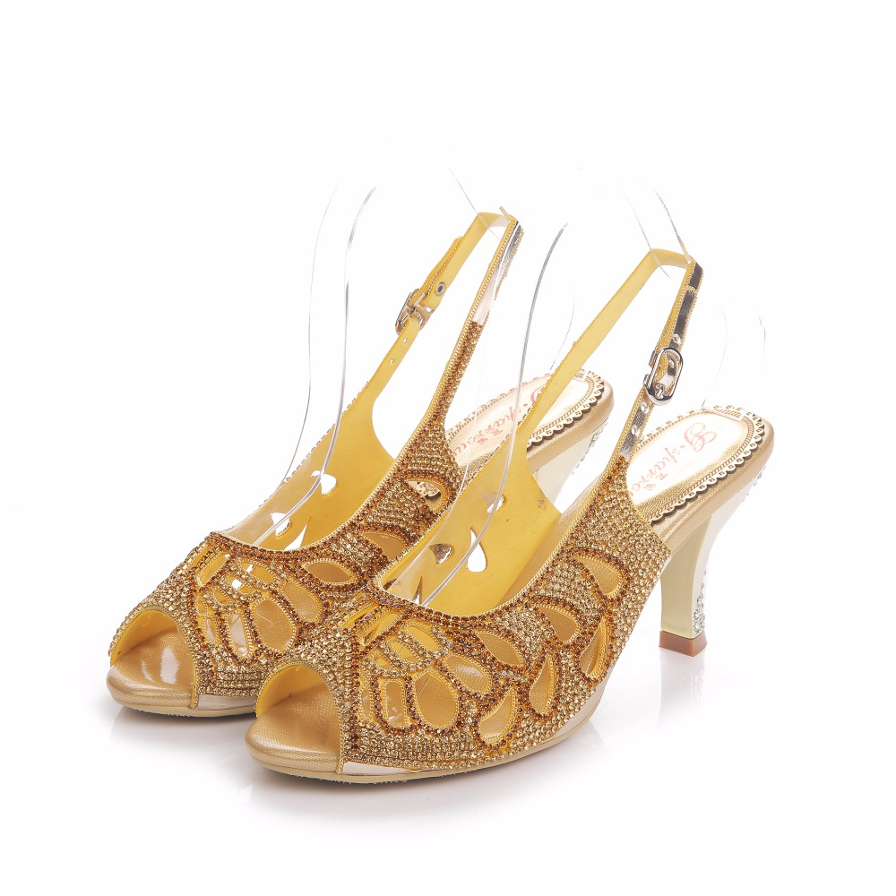 2017 Summer Fashion Sexy Girl Golden Hollow Out Rhinestone Thin High Heels Women Crystal Sandals Peep Toe Woman Wedding Shoes