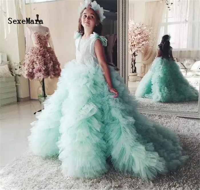 Mint Green Ball Gown Flower Girl Dresses 2018 Pageant Dresses for Girls Glitz Court Train Ruffles With Bow Kids Prom Dresses mint green casual sleeveless hooded top