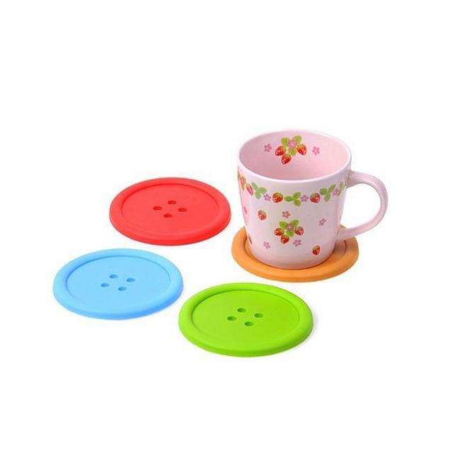 5 шт. силикона красочные мило держатель для напитков столовых кнопки формы Coaster Кубка Коврик
