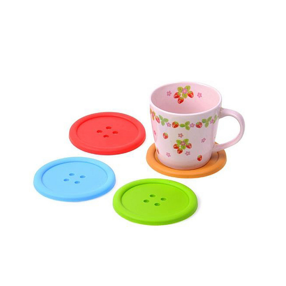 5Pcs Silicone Colorful Cute <font><b>Drink</b></font> <font><b>Holder</b></font> <font><b>Placemat</b></font> Button Shaped <font><b>Coaster</b></font> <font><b>Cup</b></font> <font><b>Mat</b></font>