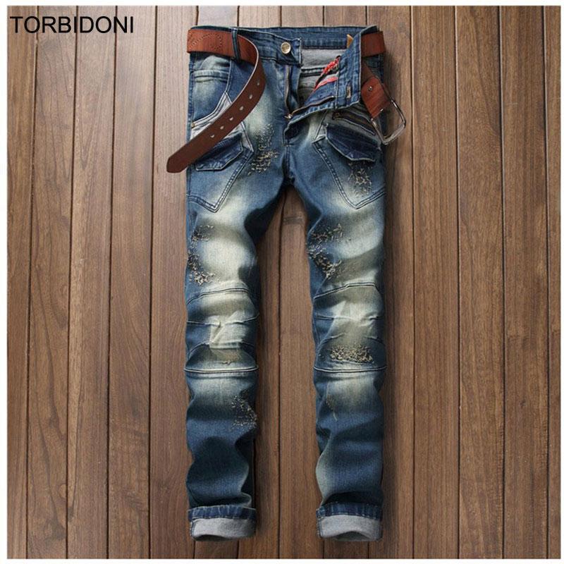 ФОТО New Design Men Special Patchwork Jeans Fashion Denim Blue Hole Jeans Casual Pencil Pants Men Biker Tight Jean Personality Pocket