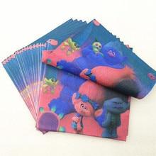 20 pcs/lot Trolls Paper Napkins for Happy Birthday Party Supplies Cartoon Napkin Kids Baby Shower Favors Decoration