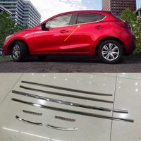 MONTFORD For Mazda 2 Demio 2015 2016 Only For Hatchback Stainless Steel Bottom Window Sill Cover Trims 8Pcs/set Car Accessories
