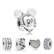 European Style Silver Plated Safety Stopper Austria Clear Crystal Spacer Clips Beads Mickey Charm Fit Original Pandora Bracelets