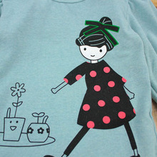 Cartoon Print Long Sleeve T-shirt For Girls Kids