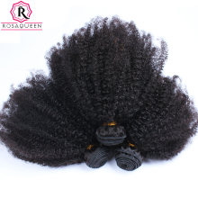 Mongolian Afro Kinky Curly Hair Weave Extensions 4B 4C 100% Natural Virgin Human Hair Bundles 3 Pcs Rosa Queen Hair Products