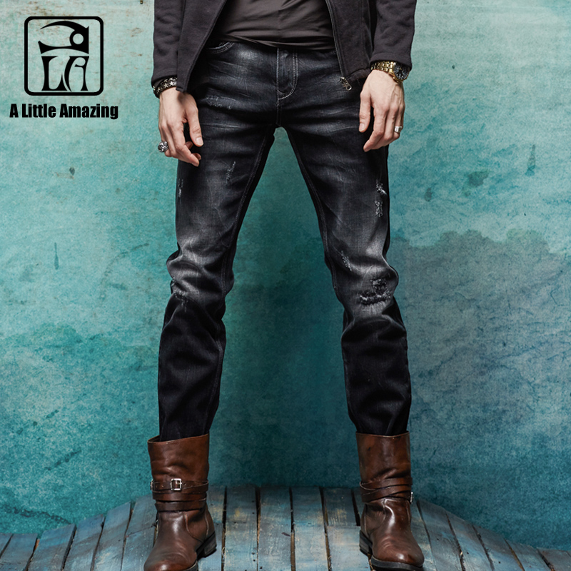 Mens Brand Jeans Distressed Jeans Ripped Slim Straight Darked Wash Jeans Black Grey Stretch Denim Fashion Jeans for Men 158041
