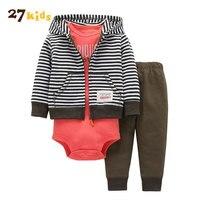 27Kids Baby Boy Clothes Autumn Winter Clothing Set Kids Coat Bodysuit Pant 3 Pcs Boy Clothes