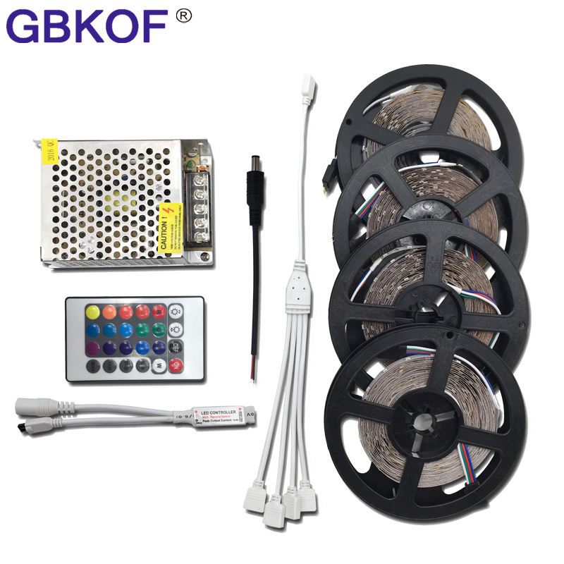 20M 15M 10M 5M 3528 LED Strip Non Waterproof 60leds/m RGB flexible neon led light with Remote RGB Controller and DC12V Adapter 10m 5m 3528 5050 rgb led strip light non waterproof led light 10m flexible rgb diode led tape set remote control power adapter