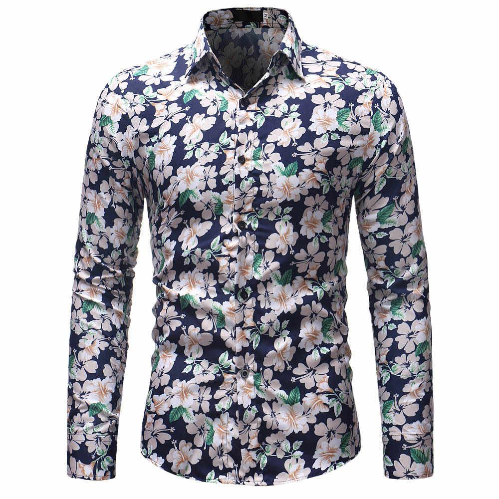 00a40095674 2019 New Floral Print Men Shirts Long Sleeve Mens Hawaiian Shirt ...