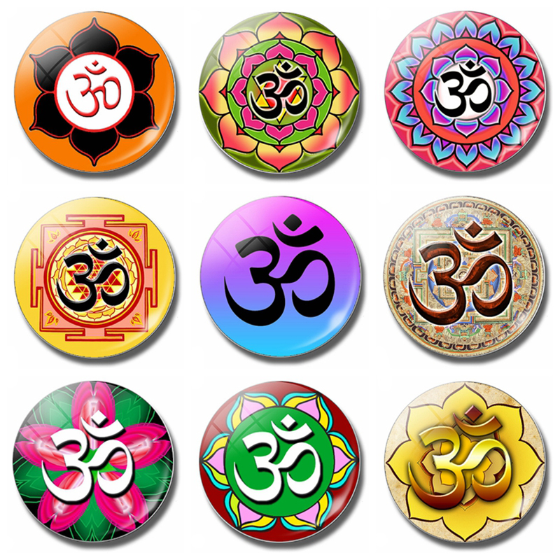 Rainbow Om 30MM Fridge Magnet Yoga Chakra Mandala India Buddhism Glass Dome Magnetic Refrigerator Stickers NoteHolder Home Decor