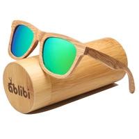 Ablibi 100% Natural Bamboo Wooden Sunglasses for Men Womens Green Polarized Brand Designer Sun Glasses in Bamboo Tube