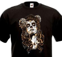 ФОТО 2018 best t shirts  t-shirt catrina tattoo mexique tatouage calavara pin-up - tete de mort mexicaine new brand casual clothing