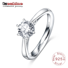 LZESHINE New Vogue Elegant Authentic 925 Sterling Silver Dazzling Marriage ceremony Ring Actual Engagement CZ Diamond Rings SRI0047-B