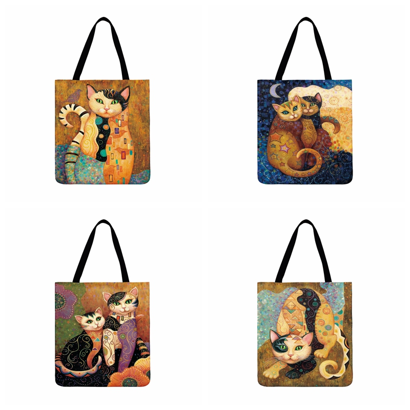 Ladies Shoulder Bag Famous Golden Cat Painting Printed Tote Bag Outdoor Beach Bag Daily Hand Bag Foldable Casual Shopping Bag