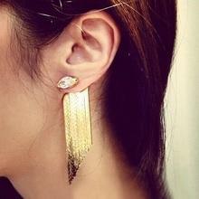 цена на Statement tassel long gold earrings for women bijoux trendy fashion Zircon crystal drop earrings party jewelry cute gift