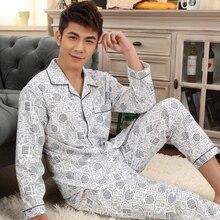 Spring Autumn Man Pajama Set Long Sleeve Warm Cotton Pajama For Men Big Size L-XXXL Two Pieces Set Mens Pyjamas Casual Sleepwear