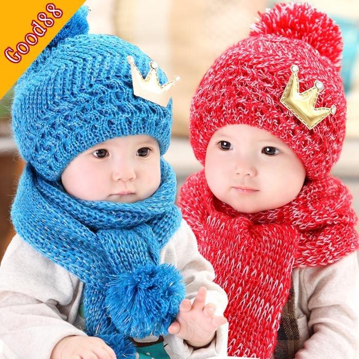 Autumn winter baby hat + scarf twinset knitted winter hat children boys girls crown cap scarf beanie set 6M-3Y kids accessories