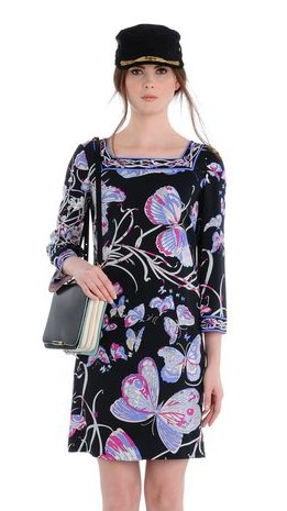 butterfly print elegant square collar half sleeve slim elastic knitted one piece dress