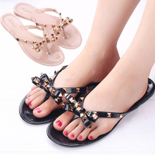 New Arrival Fashion Flat Jelly Sandals Flip-Flops Slippers Bowknot for Women Summer Beach