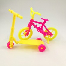 2pcs Kids scooter Bicycles Bikes Mini Toy for Barbie Accessories Girls Birthday Gifts Doll Accessories Fits