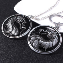 Game Mortal Kombat Logo Necklace Silver Chain Dragon Dragon Pendant Necklace for Men Jewelry Gift For Friends