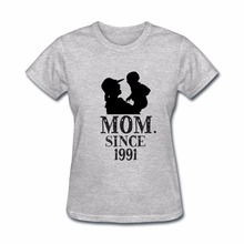 009122c6 Dropshipping summer tops MOM Since 1991 T-Shirt Women Mom Brave Tee Shirt  Homme Mother's