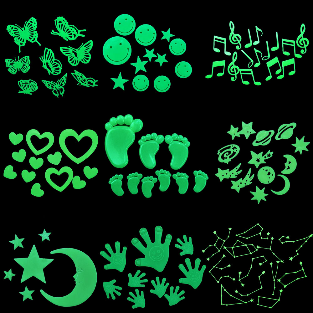 Hot Fashion Glow In The Dark Fluorescent Plastic Home Decorate Wall Sticker New Style 999