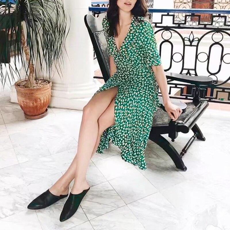 sumer hot sale Womens Boho style flower print dress fashion sexy V-neck Beach ladies Summer Dress vestidos verano 2018