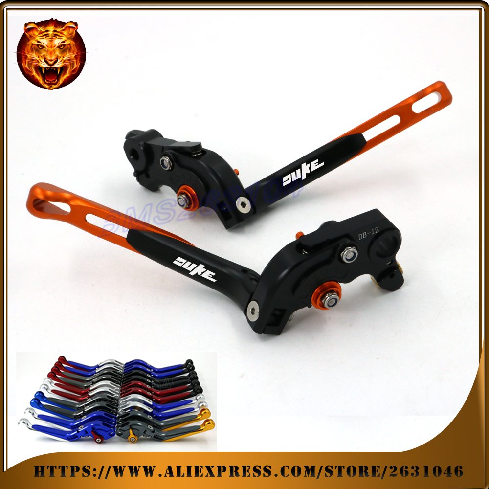 Adjustable Folding Extendable Brake Clutch Lever For KTM 690 DUKE 690DUKE 2014 15 16 Orange WITH LOGO Free shipping Motorcycle