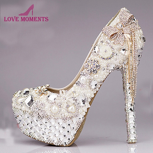2018 Luxurious Bowtie Rhinestone Ultra High Heel Shoes Pearl Crystals  Wedding Dress Shoes Beautiful Shoes for Bride Size 41 3181c4deafbe