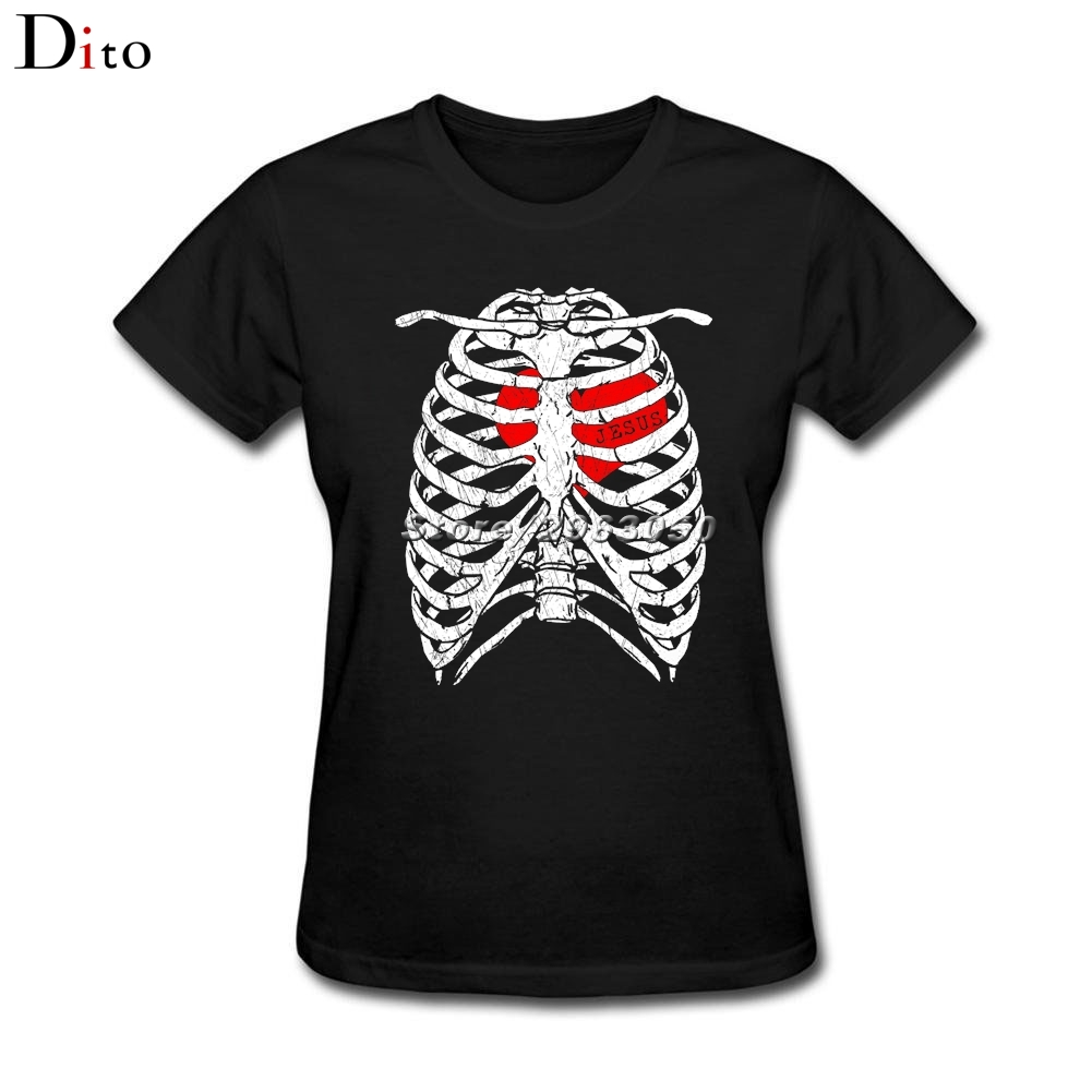 I have Jesus in <font><b>my</b></font> heart <font><b>Rib</b></font> Skeleton Skull T-shirt Women's Screen Printing Short Sleeve Fashion Custom Girl's <font><b>T-shirts</b></font>