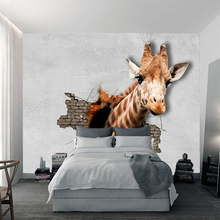 CustomAnimal Giraffes Wallpaper For Kids Room Sofa Backdrop Wall Papers Cartoon The Progress in the Tornado Home Decor  YBZ160