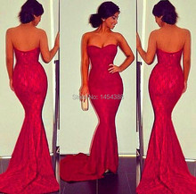 Vestidos 2015 Customized Made Sweetheart Strapless Party Gowns Sexy Red Lace Long Mermaid Prom Dresses Formal