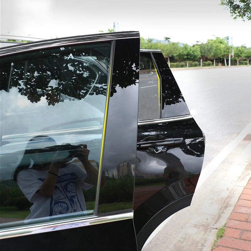 6pcs Glossy font b PC b font window pillar sticker trim fit for 2007 2011 2012
