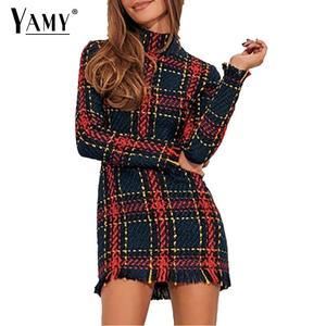 Image 2 - Vintage Turtleneck plaid Tweed dress women winter dress Sexy mini bodycon dress elegant red office work dress 2019 vestidos