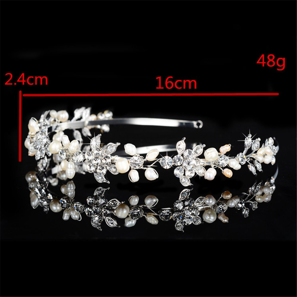 925 sterling silver cute pink flowers design tiara for women simulated pearl & Austrian crystal hair accessories wedding jewelry bridal crown HF042 (1)