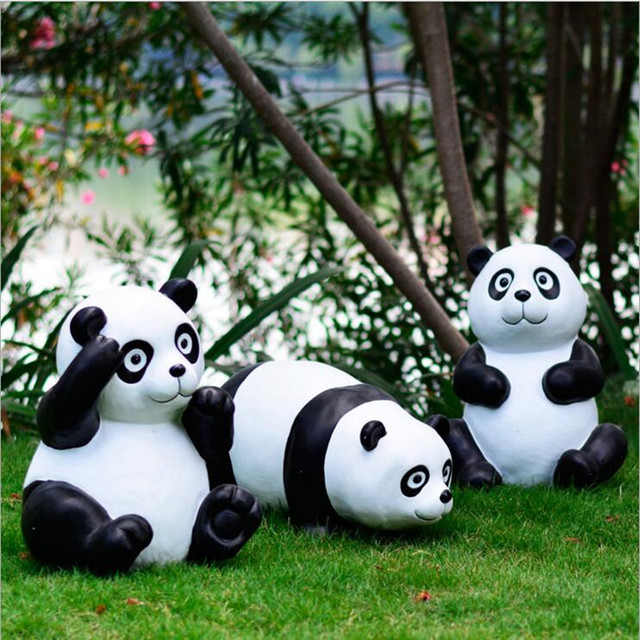 High Quality Classical Resin Gift Panda Garden Decoration Artificial Rare  Animal Pandas Don Home Ornament Villa
