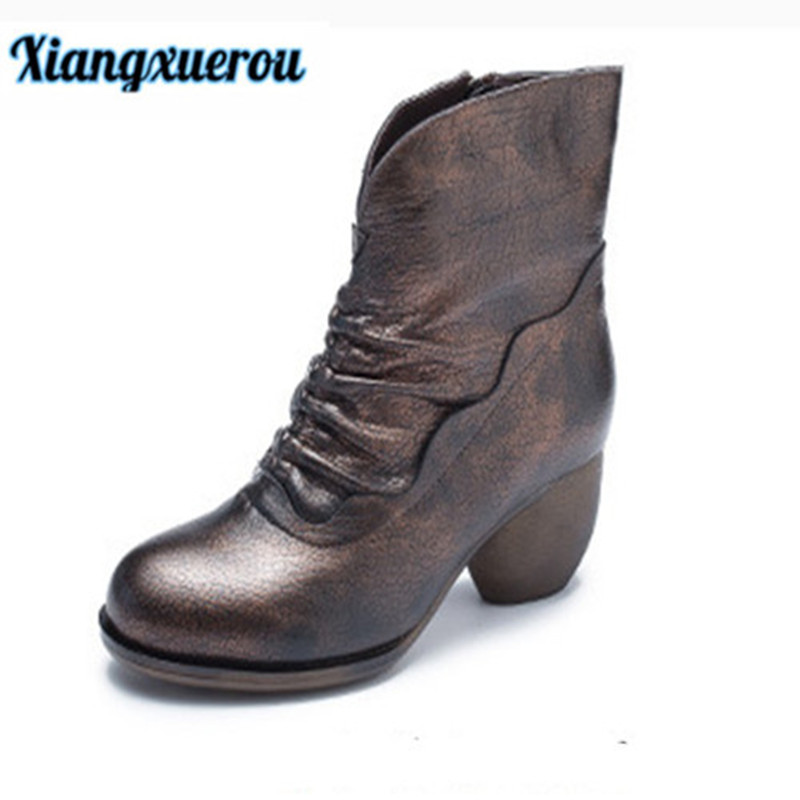 Xiangxuerou New autumn and winter 2018 round head thick high heel vintage leather female short boots цена 2017
