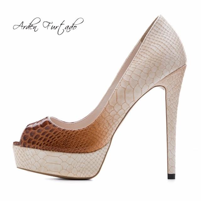 4744e4c209f0 Arden Furtado 2018 spring summer sexy high heels 12cm plus size slip on  party shoes peep toe pumps stilettos heel wedding shoes