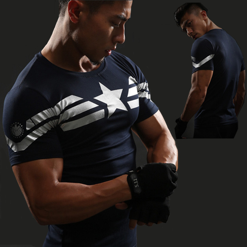 Captain America T-shirt Gym MMA T-shirt Men's Short Sleeve Tops 3D Print Compression Shirt Superman Punisher Tee